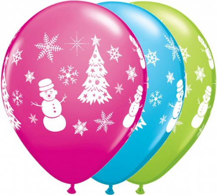 11'' Festive Winter Scene Latex balloons x 25